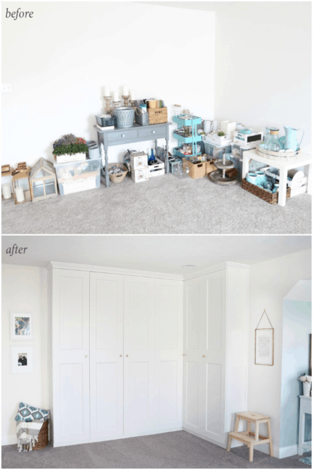Home- Creating Built In Office Storage with the IKEA PAX system, organized office, home office organization, PAX wardrobe with GRIMO doors as office storage, how to design and install the IKEA PAX system, before and after