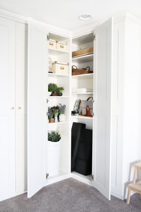 Home- Creating Built In Office Storage with the IKEA PAX system, organized office, home office organization, PAX wardrobe with GRIMO doors as office storage, how to design and install the IKEA PAX system, IKEA PAX interior storage for faux greenery and camera equipment