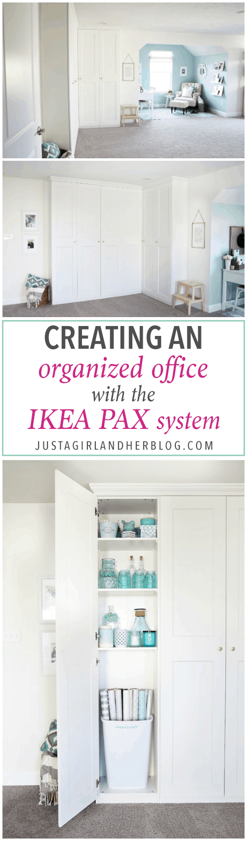 Home- Creating Built In Office Storage with the IKEA PAX system, organized office, home office organization, PAX wardrobe with GRIMO doors as office storage, how to design and install the IKEA PAX system, Creating an Organized Office with the IKEA PAX System