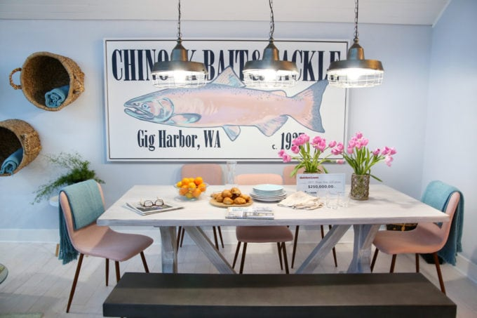 Home- Tour of the 2018 HGTV Dream Home in Gig Harbor, Washington near Seattle, Washington, Brian Patrick Flynn, Pacific North West, coastal style, pastel decor, gallery walls, home renovation, Delta faucet, dining room