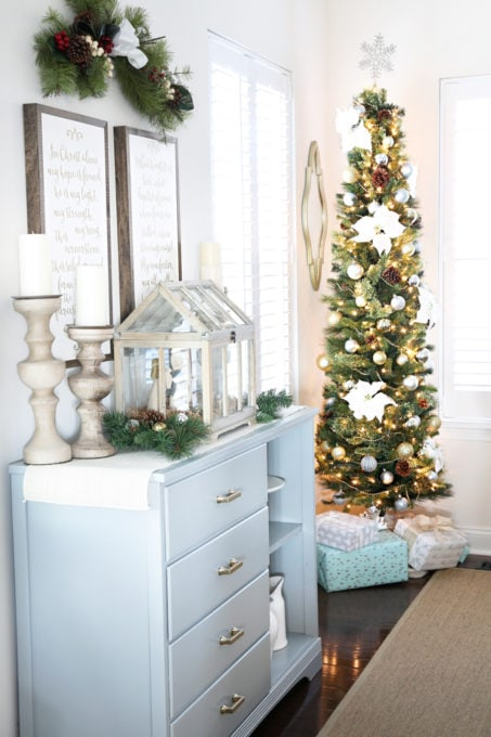 Home- Beautiful neutral Christmas home tour with silver, gold, gray, and white, Holiday Seasonal Simplicity Tour, neutral decor, farmhouse decor, cottage style, Christmas dining room decor, pencil tree