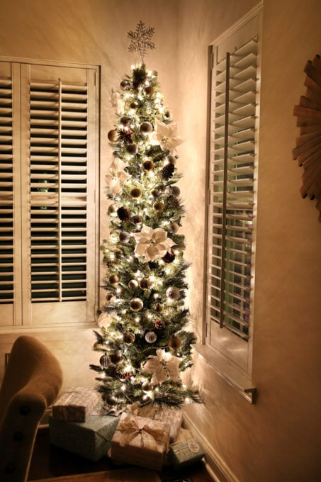 Home- Christmas Nights Tour, Christmas lights, Christmas tree, Christmas decor, holiday decor, home tour, Christmas home tour, holiday home tour, Christmas ornaments, Ryan Homes, Palermo, dining room pencil tree, skinny tree
