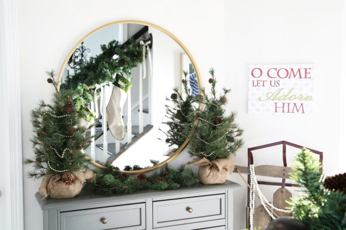 Home- Beautiful neutral Christmas home tour with silver, gold, gray, and white, Holiday Seasonal Simplicity Tour, neutral decor, farmhouse decor, cottage style, entry, Christmas entryway detail