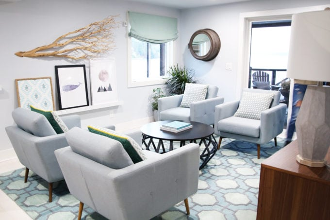 Home- Tour of the 2018 HGTV Dream Home in Gig Harbor, Washington near Seattle, Washington, Brian Patrick Flynn, Pacific North West, coastal style, pastel decor, gallery walls, home renovation, Delta faucet, cocktail lounge