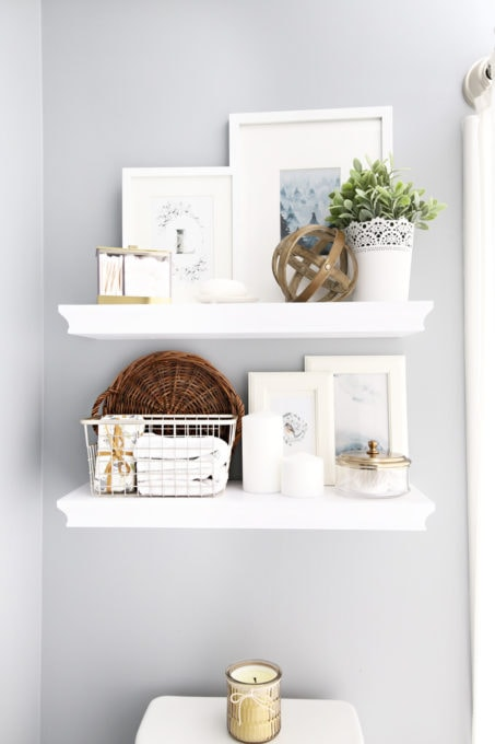 Home Organization- guest bathroom refresh, bathroom organization, organized bathroom vanity, kids bathroom organization, farmhouse bathroom decorating, cottage bathroom decor, white bathroom vanity, InterDesign, Ryan Homes Palermo, styled bathroom floating shelves