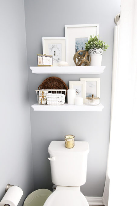 Home Organization- guest bathroom refresh, bathroom organization, organized bathroom vanity, kids bathroom organization, farmhouse bathroom decorating, cottage bathroom decor, white bathroom vanity, InterDesign, Ryan Homes Palermo, styled floating shelves
