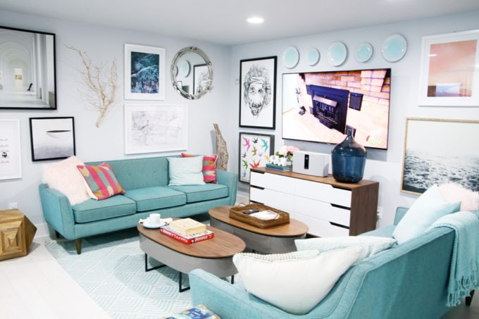 Home- Tour of the 2018 HGTV Dream Home in Gig Harbor, Washington near Seattle, Washington, Brian Patrick Flynn, Pacific North West, coastal style, pastel decor, gallery walls, home renovation, Delta faucet, den TV area
