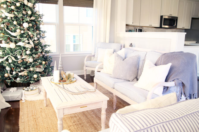 Home- Beautiful neutral Christmas home tour with silver, gold, gray, and white, Holiday Seasonal Simplicity Tour, neutral decor, farmhouse decor, cottage style, morning room, Christmas sunroom, whitewashed wood furniture
