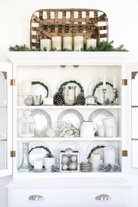 Home- Beautiful neutral Christmas home tour with silver, gold, gray, and white, Holiday Seasonal Simplicity Tour, neutral decor, farmhouse decor, cottage style, Christmas dining room decor, hutch decor, china cabinet detail