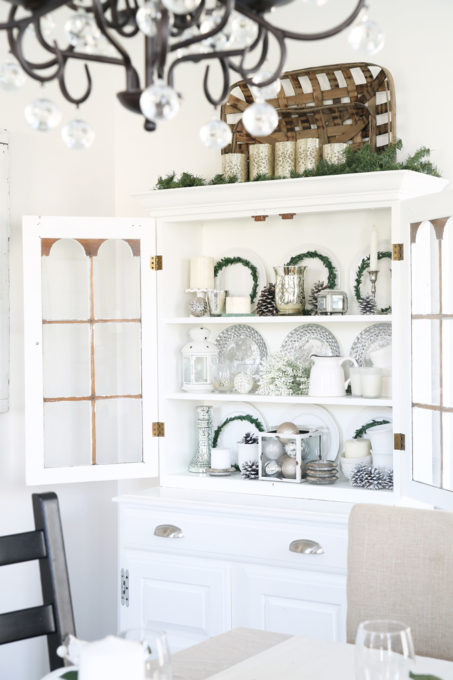 Home- Beautiful neutral Christmas home tour with silver, gold, gray, and white, Holiday Seasonal Simplicity Tour, neutral decor, farmhouse decor, cottage style, Christmas dining room decor, hutch decor, china cabinet