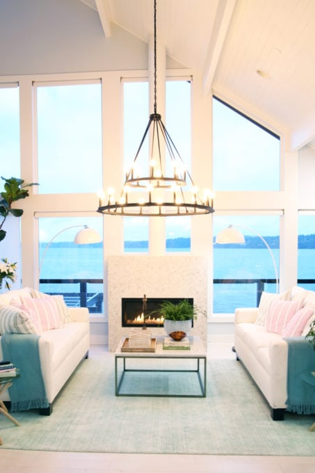 Home- Tour of the 2018 HGTV Dream Home in Gig Harbor, Washington near Seattle, Washington, Brian Patrick Flynn, Pacific North West, coastal style, pastel decor, gallery walls, home renovation, Delta faucet, living room