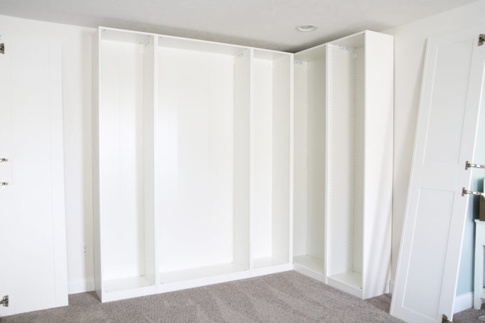Home- Creating Built In Office Storage with the IKEA PAX system, organized office, home office organization, PAX wardrobe with GRIMO doors as office storage, how to design and install the IKEA PAX system, IKEA PAX being built