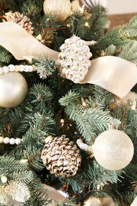 Home- Beautiful neutral Christmas home tour with silver, gold, gray, and white, Holiday Seasonal Simplicity Tour, neutral decor, farmhouse decor, cottage style, morning room, Christmas sunroom, Christmas tree with ornaments