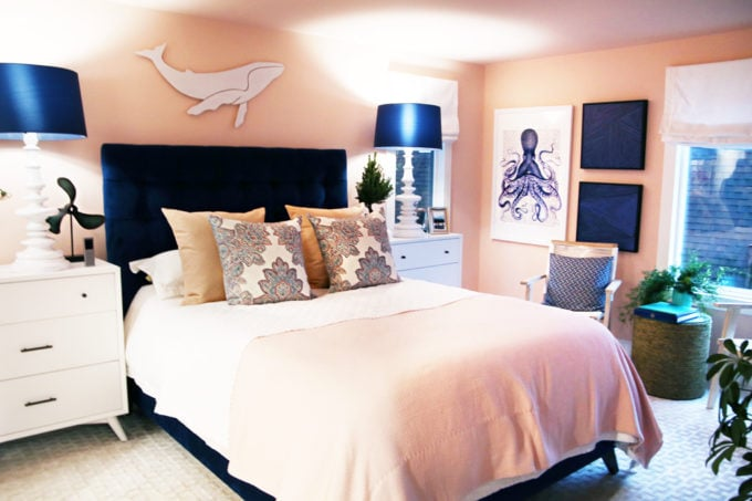 Home- Tour of the 2018 HGTV Dream Home in Gig Harbor, Washington near Seattle, Washington, Brian Patrick Flynn, Pacific North West, coastal style, pastel decor, gallery walls, home renovation, Delta faucet, pink bedroom