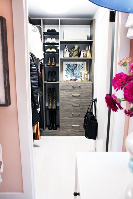 Home- Tour of the 2018 HGTV Dream Home in Gig Harbor, Washington near Seattle, Washington, Brian Patrick Flynn, Pacific North West, coastal style, pastel decor, gallery walls, home renovation, Delta faucet, pink bedroom closet
