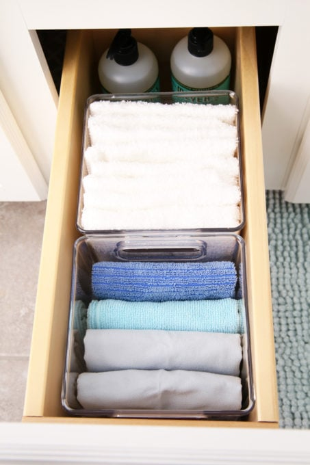 Home Organization- guest bathroom refresh, bathroom organization, organized bathroom vanity, kids bathroom organization, farmhouse bathroom decorating, cottage bathroom decor, white bathroom vanity, InterDesign, Ryan Homes Palermo, cabinet under the sink, organized cleaning supplies, microfiber cloths and rags