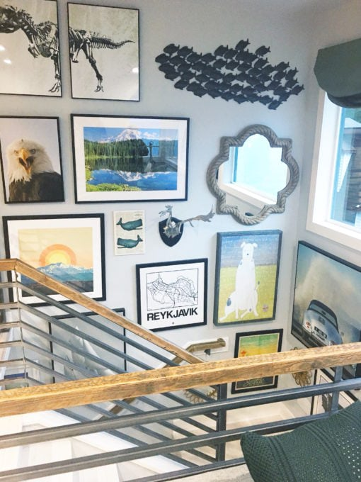 Home- Tour of the 2018 HGTV Dream Home in Gig Harbor, Washington near Seattle, Washington, Brian Patrick Flynn, Pacific North West, coastal style, pastel decor, gallery walls, home renovation, Delta faucet, Stairwell Gallery Wall