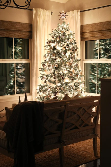 Home- Beautiful neutral Christmas home tour with silver, gold, gray, and white, Holiday Seasonal Simplicity Tour, neutral decor, farmhouse decor, cottage style, morning room, Christmas sunroom decor, Christmas tree at night