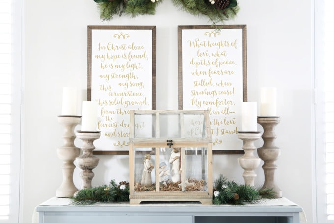 Home- Beautiful neutral Christmas home tour with silver, gold, gray, and white, Holiday Seasonal Simplicity Tour, neutral decor, farmhouse decor, cottage style, Christmas dining room decor, sideboard decorated, nativity