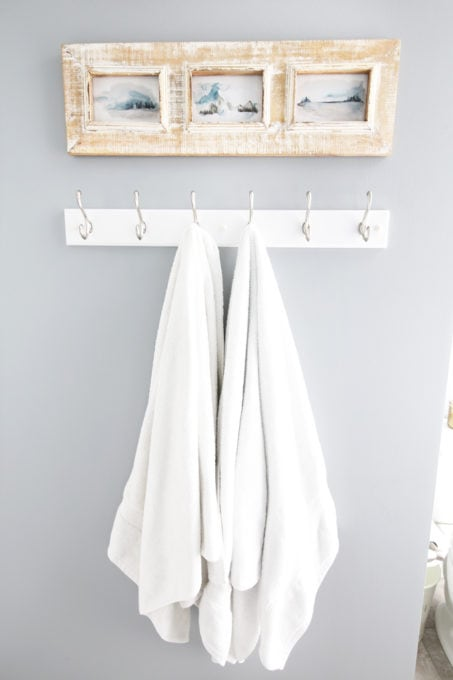 Home Organization- guest bathroom refresh, bathroom organization, organized bathroom vanity, kids bathroom organization, farmhouse bathroom decorating, cottage bathroom decor, white bathroom vanity, InterDesign, Ryan Homes Palermo, towel hooks