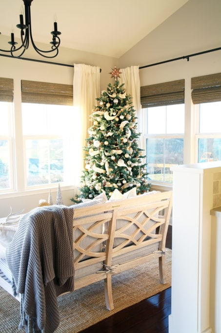 Home- Beautiful neutral Christmas home tour with silver, gold, gray, and white, Holiday Seasonal Simplicity Tour, neutral decor, farmhouse decor, cottage style, morning room, Christmas sunroom
