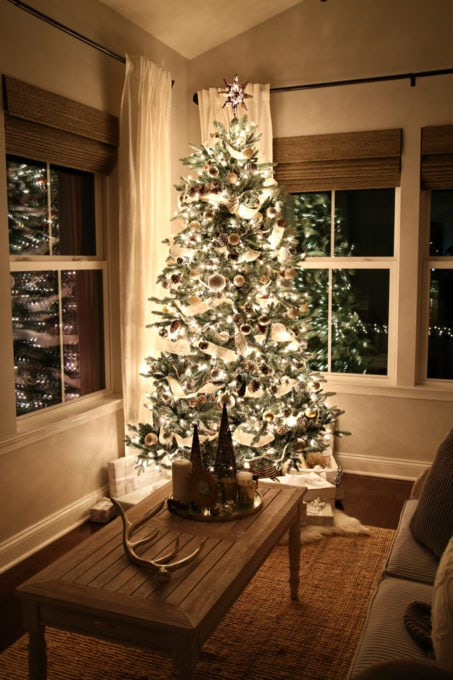 Home- Christmas Nights Tour, Christmas lights, Christmas tree, Christmas decor, holiday decor, home tour, Christmas home tour, holiday home tour, Christmas ornaments, Ryan Homes, Palermo, sunroom, morning room, styled coffee table