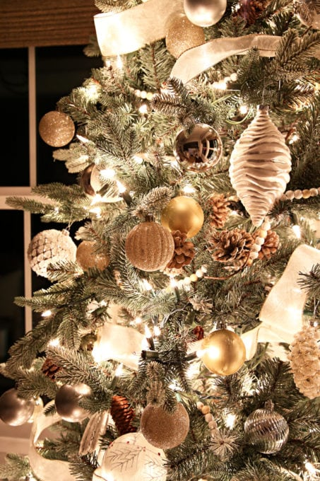 Home- Beautiful neutral Christmas home tour with silver, gold, gray, and white, Holiday Seasonal Simplicity Tour, neutral decor, farmhouse decor, cottage style, morning room, Christmas sunroom decor, Christmas tree at night, tree in the dark detail