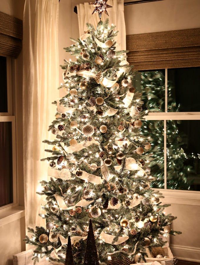Home- Christmas Nights Tour, Christmas lights, Christmas tree, Christmas decor, holiday decor, home tour, Christmas home tour, holiday home tour, Christmas ornaments, Ryan Homes, Palermo, sunroom, morning room, white curtains