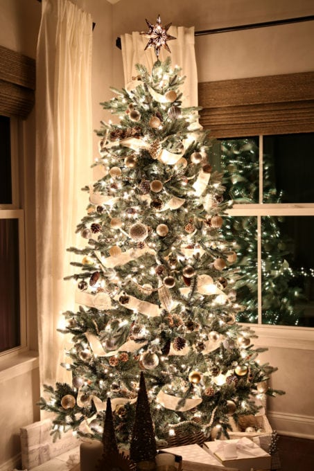 Home- Beautiful neutral Christmas home tour with silver, gold, gray, and white, Holiday Seasonal Simplicity Tour, neutral decor, farmhouse decor, cottage style, morning room, Christmas sunroom decor, Christmas tree at night, tree in the dark
