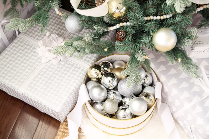 Home- Beautiful neutral Christmas home tour with silver, gold, gray, and white, Holiday Seasonal Simplicity Tour, neutral decor, farmhouse decor, cottage style, morning room, Christmas sunroom decor, Christmas tree, under the tree