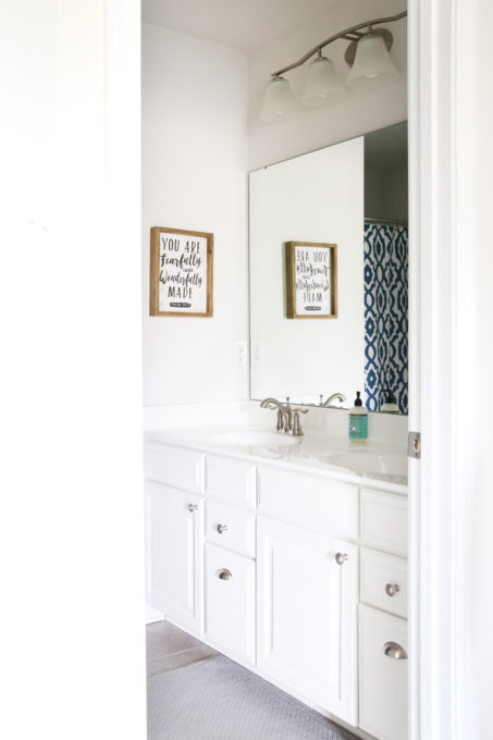 Home Organization- guest bathroom refresh, bathroom organization, organized bathroom vanity, kids bathroom organization, farmhouse bathroom decorating, cottage bathroom decor, white bathroom vanity, InterDesign, Ryan Homes Palermo, vanity before photo