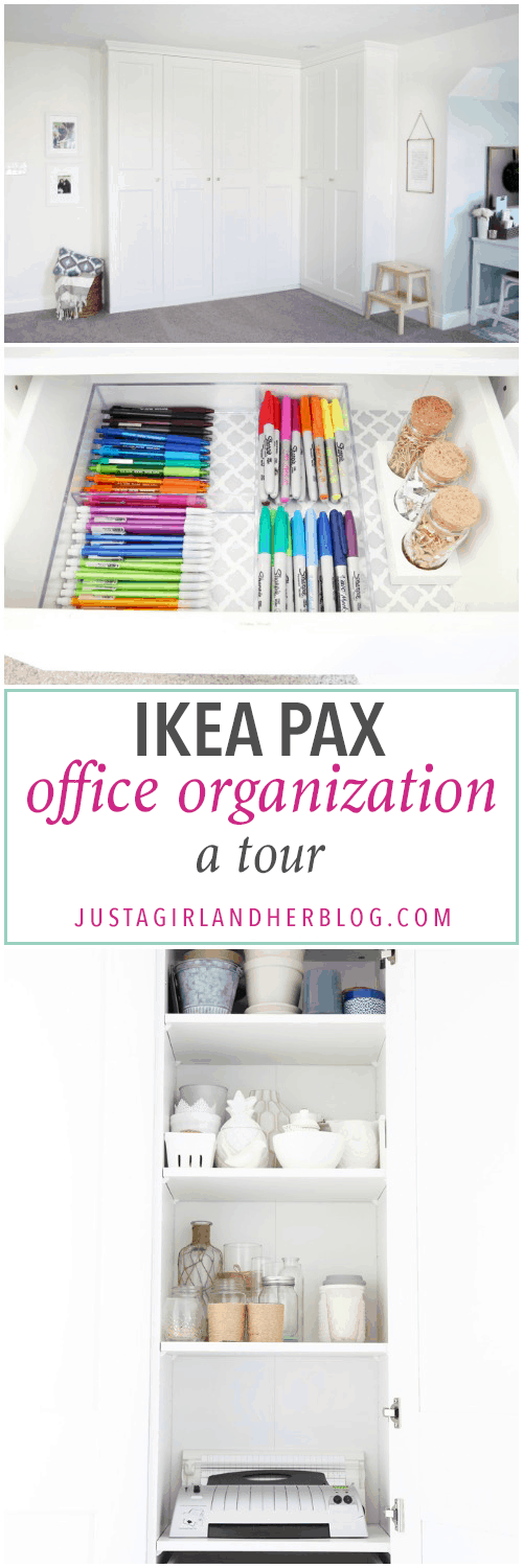 The IKEA PAX system was the perfect way to organize this messy corner of my office. I was able to store so much in the cabinets! | organized home office, office organization, IKEA hack, PAX wardrobe system, decor storage ideas, how to organize gift wrap, organized office supples, label detail; IKEA PAX Office Organization: A Tour
