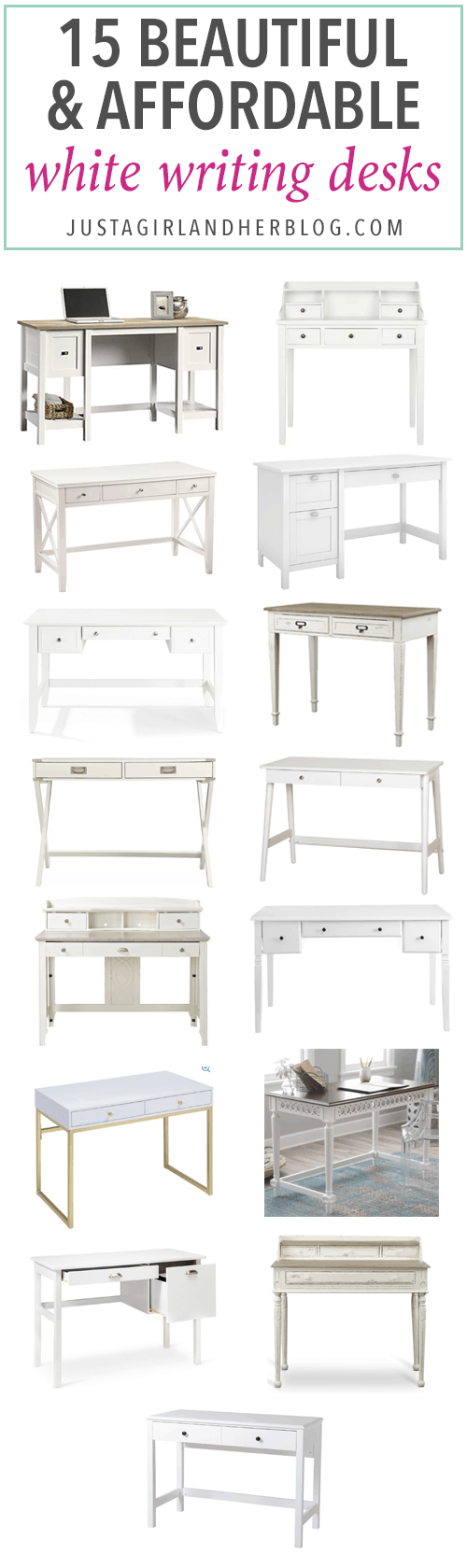 Love these options for beautiful and affordable white writing desks-- they would be perfect in a feminine home office! | desks, computer desk, office organization, organized office, white furniture, farmhouse style, cottage style, glam style, modern style, rustic style desks