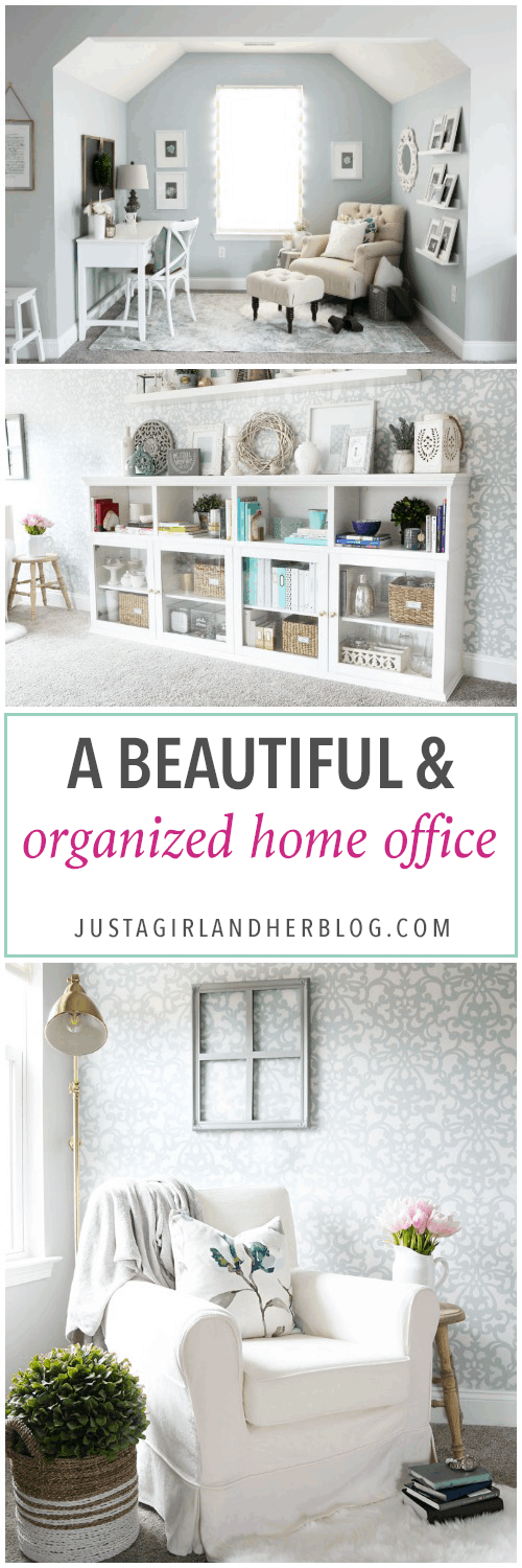 This extremely organized home office is so functional and beautiful at the same time! It gives me so many great ideas for my own home office organization! | home office, craft room, woman cave, home office decor, feminine decor, allover stencil, stenciled wall, IKEA BESTA system, IKEA PAX system, organizing, etagere, pillow organization, organized books, organized binders, organized office supplies, organized craft supplies, IKEA hack, office nook, home office storage