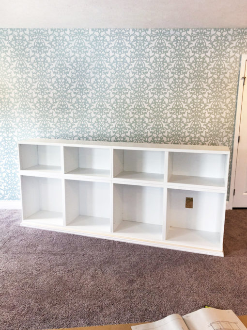 I love this IKEA BESTA hack to make a beautiful storage unit for a home office! And she tells you exactly how to do it too! | IKEA BESTA, IKEA hack, BESTA system, home office, DIY, trim work, office storage, office organization, organized office, shelf styling, bookshelf styling, styled shelves, functional and beautiful, attaching trim pieces to IKEA BESTA, baseboards, bottom trim pieces