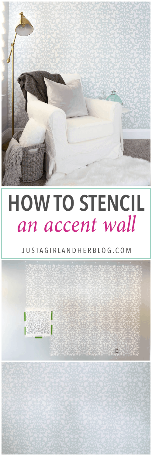 This detailed post is so helpful in teaching how to stencil a wall, allover stenciling! The outcome is absolutely gorgeous! | stenciled wall, stenciling, allover stencil, damask stencil, base color, Sherwin Williams Rainwashed, How to Stencil an Accent Wall