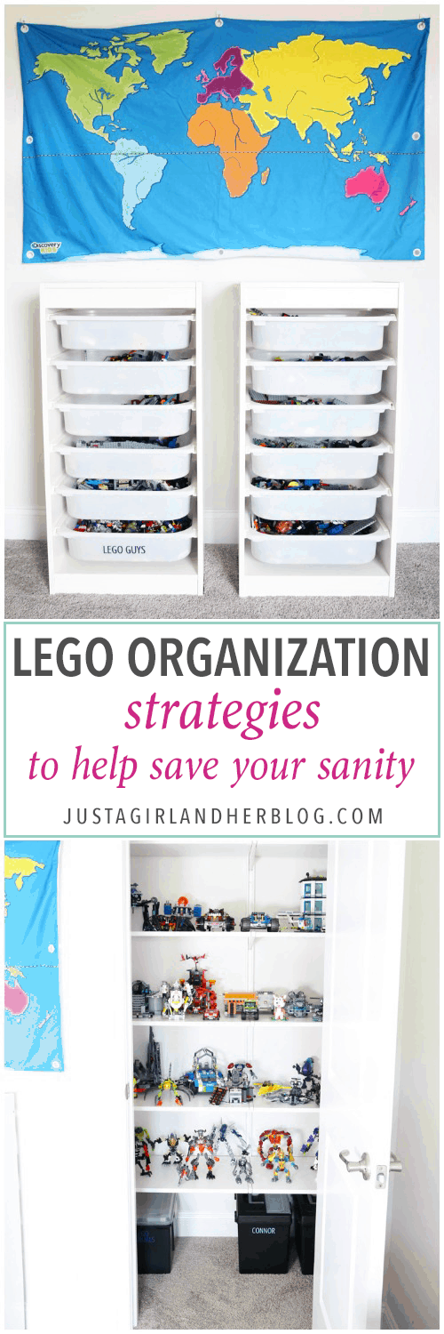 LEGO organization can be a huge challenge, but I've figured out a few strategies to keep them neat and tidy (and help save your sanity)! | Organized LEGOs, how to organize LEGO, LEGO bins, LEGO sets, IKEA TROFAST storage unit, how to store LEGO pieces, LEGO organization system, LEGO organizing ideas
