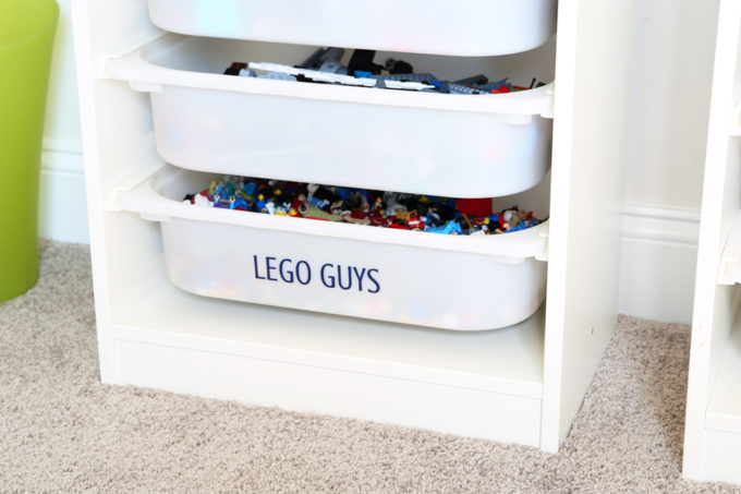 LEGO organization can be a huge challenge, but I've figured out a few strategies to keep them neat and tidy (and help save your sanity)! | Organized LEGOs, how to organize LEGO, LEGO bins, LEGO sets, IKEA TROFAST storage unit, LEGO figures bin
