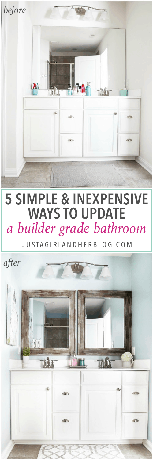 This post shares simple but brilliant ideas for updating your builder grade master bathroom in a weekend or less! | bathroom upgrades, easy bathroom DIY projects, how to decorate a builder grade bathroom, easy bathroom hacks, updating a bathroom on a budget, updated bathroom mirror, 5 Simple and Inexpensive Ways to Update a Builder Grade Bathroom