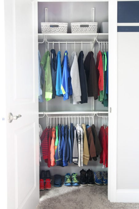 This super helpful post talks about IKEA's 3 best storage systems-- ALGOT, BESTA, and PAX-- and gives great ideas for using them in your home! | IKEA BESTA storage system, modular storage system, IKEA ALGOT closet system, custom closet system, IKEA PAX wardrobe system, DIY wardrobe, IKEA hack, how to plan for and install IKEA storage systems, shared kids' bedroom closet with IKEA ALGOT closet system