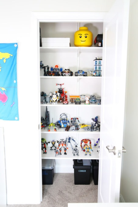 This super helpful post talks about IKEA's 3 best storage systems-- ALGOT, BESTA, and PAX-- and gives great ideas for using them in your home! | IKEA BESTA storage system, modular storage system, IKEA ALGOT closet system, custom closet system, IKEA PAX wardrobe system, DIY wardrobe, IKEA hack, how to plan for and install IKEA storage systems, organized home office playroom closet with IKEA ALGOT closet system for LEGO storage