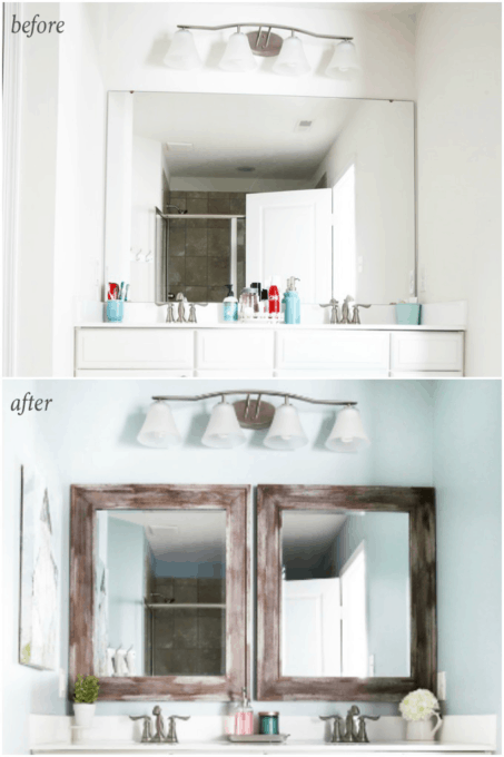 This post shares simple but brilliant ideas for updating your builder grade master bathroom in a weekend or less! | bathroom upgrades, easy bathroom DIY projects, how to decorate a builder grade bathroom, easy bathroom hacks, updating a bathroom on a budget, updated bathroom mirror