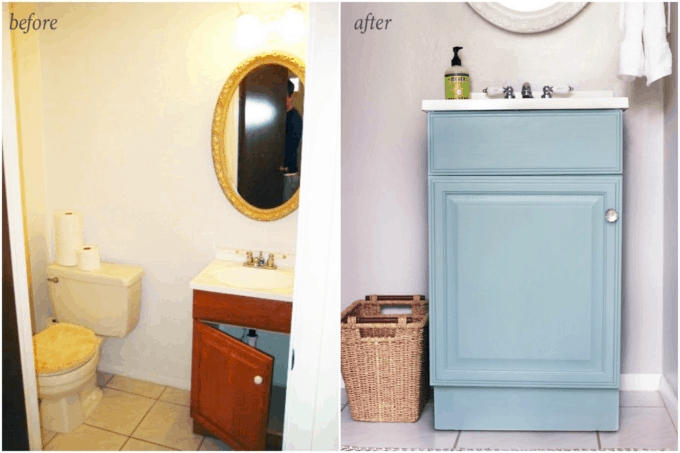 This post shares simple but brilliant ideas for updating your builder grade master bathroom in a weekend or less! | bathroom upgrades, easy bathroom DIY projects, how to decorate a builder grade bathroom, easy bathroom hacks, updating a bathroom on a budget, painted bathroom vanity in a powder room