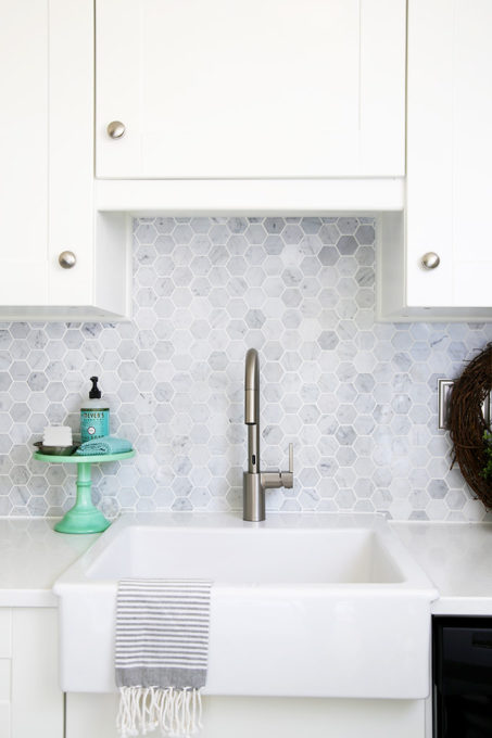White IKEA Kitchen with Farmhouse Sink