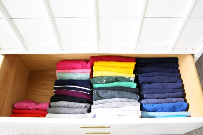 Decluttered Shirts Folded Using the Filing Method or KonMari Method
