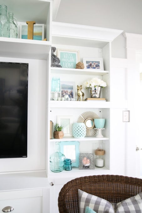 Decorated Shelves, Coastal with Aqua, Mint, and White