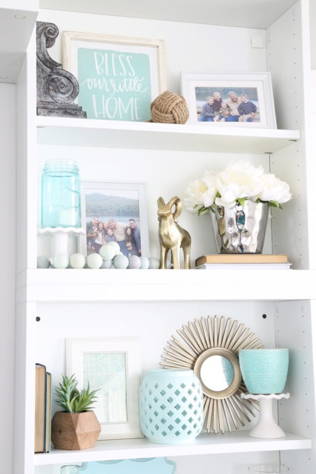 Decorated Shelves with Aqua and Mint Coastal Decor
