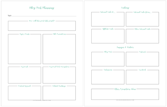 Free Printable Blog Post Planning Worksheet to Help Improve SEO and Improve Virality