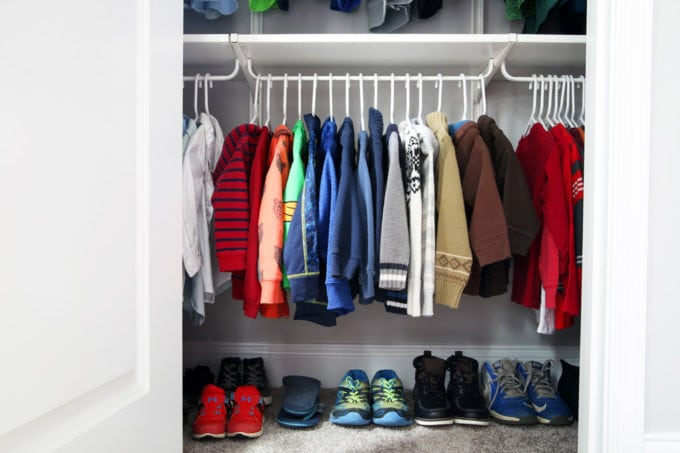 Kids' Clothes Closet Organized and Decluttered