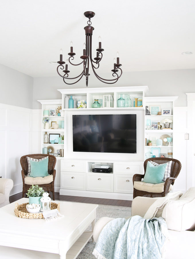 IKEA BESTA Entertainment Unit with Styled Shelves in a Farmhouse Living Room